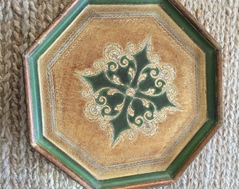 Vintage Octagon Green and Gold Florentine Tray- Vintage Italian Tray
