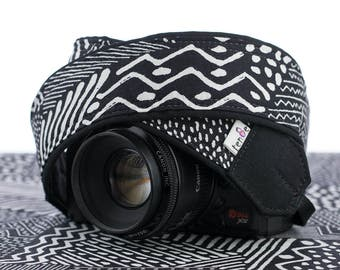 dSLR Camera Strap,  Black and White Tribal, SLR, Geometric, Pocket, Canon, Nikon, Photography Gift, 174 a