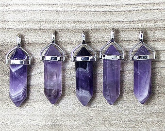 Polished Natural Amethyst Point Pendant, Crystal Quartz Druzy Pendant With Silver Plated Bail - 1, 5, 10pcs