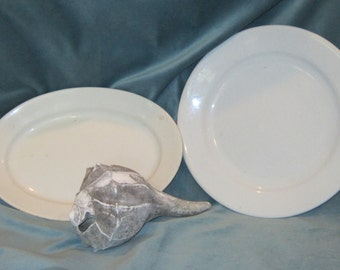 Antique Ironstone Plate and Platter