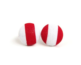 Red white earrings - mismatched striped stud earrings - fabric covered studs - tiny button earrings - spring earrings - summer joy