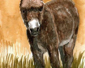 Brownie Donkey Artwork  LLMartin Original Watercolor Burro Painting  Virginia Country