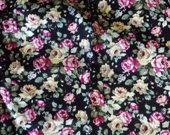 Very Sweet 'Night Garden' Dark Rose Floral print Cotton Fabric Material
