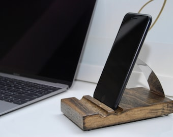 iPhone Stand, Wood Docking Station, Modern Design Desk Accessory, Office Organizer, Home Decor, Cell phone holder, Birthday gift
