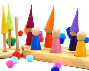 Wooden Peg Doll Set, pretend play set, wooden toy non-toxic, waldorf steiner, imagination play, toddler toy, natural toy, gnome peg dolls