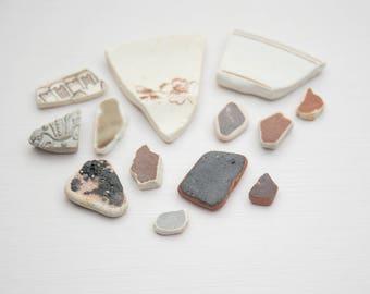 BROWN SEA POTTERY, genuine English sea porcelain, Rustic, mosaic tiles, Coastal decor, art Craft supplies, Unusual unique diy, broken china