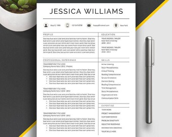 Professional Resume Template, CV Template, Cover Letter, Creative Resume, Modern Teacher Resume, 1, 2, 3 Page Word Resume Template, Jessica