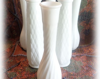 6 Milk Glass Bud Vases Collection of 6 Vintage for Weddings, Parties, Receptions, Florist Vases, DISCOUNT Available
