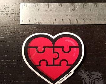Vinyl Sticker PUZZLE HEART Jin Wicked Heartbreak Love Forgiveness Healing