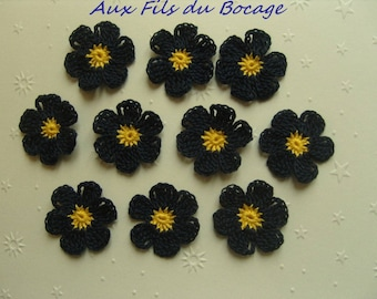 Flower crochet appliques set of 10 Navy Blue and yellow