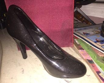 Glass slipper porcelain high heel shoe black