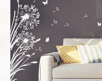 Wall decals + 25 flight seeds flower + butterflies - dandelion wall sticker wall sticker living room bedroom wall decal vinyl w322