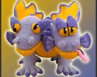 Amigurumi Pattern Crochet Gemini Two-Headed Dragon DIY Digital Download