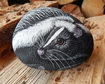 Skunk, Skunk Painted Rock, Cute Skunk Painting, Painted Skunk Rock, Skunk Art