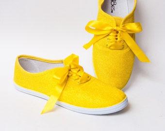 Glitter - CVO Lemon Drop Yellow Canvas Sneakers Shoes