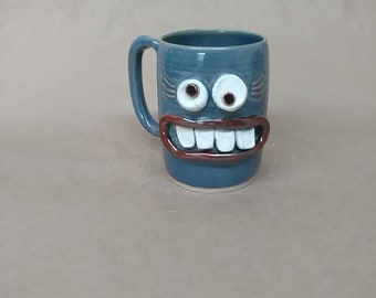 Teacher Coffee Mug. Bright Blue Face Teacup by Nelson Studio, Alabama. Microwave Dishwasher Safe Stoneware Pottery Mug. Ug Chug