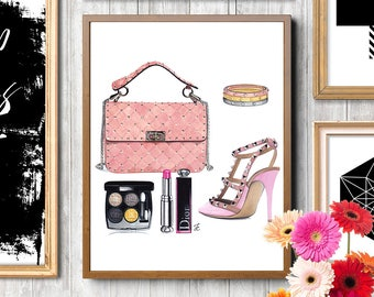 Pink illustration, Valentino, Valentino bag, Valentino shoes, Makeup illustration, Fashion poster, Fashion illustration, Cartier Love