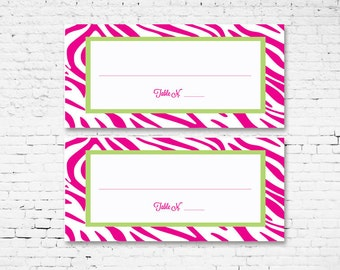 Zebra Print Place Card. Pink and Green. Digital Download for your DIY event