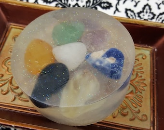 Seven Chakras Soap - Gemstone Soap - Embedded Healing Stones - Choose Your Scent - Chakra Healing Soap - Seven Chakras Gift