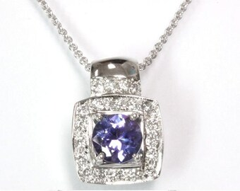 1.4 ct tw Natural Blue Violet Tanzanite & Diamond Gold Halo Pendant Necklace