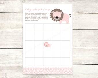 baby shower bingo game card printable DIY lion pink grey brown cute baby girl digital shower games - INSTANT DOWNLOAD