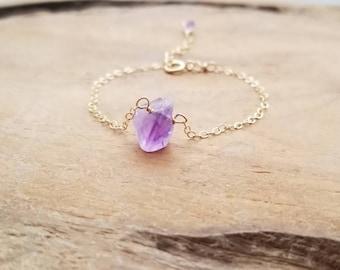 WHOLE SALE, Raw Amethyst Bracelet, Rough Amethyst Bracelet, Dainty Amethyst Bracelet, Purple Gemstone Bracelet, Gift for Her, Gift for Mom