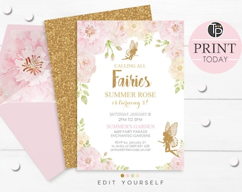 FAIRY INVITATIONS, Floral Fairy Invitation, Instant Download, Pink and Gold Fairy Invitation, Fairy 1st Birthday Invitation, Gold Fairy