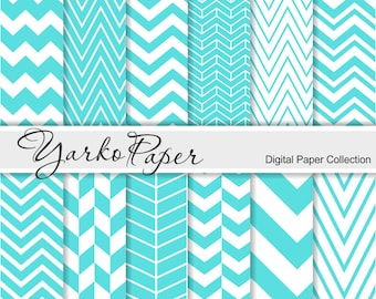 Turquoise Blue Chevron Digital Paper Pack, Scrapbook Paper, Digital Background, 12 Sheets, Personal And Commercial Use - Instant Download