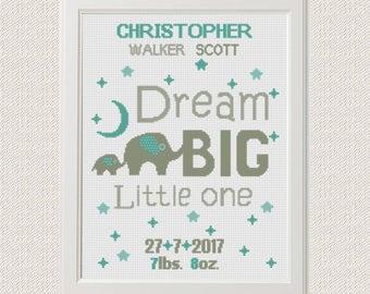 Birth announcement baby sampler Cross stitch elephants pattern animal Dream big little one new baby boy birthday gift nursery decor