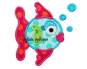 Digitial Machine Embroidery Design -  Sassy Fish Applique