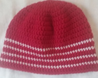 Red beanie hat with white stripes