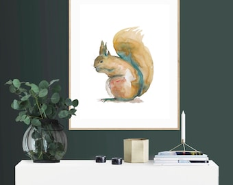 Squirrel Watercolour Print