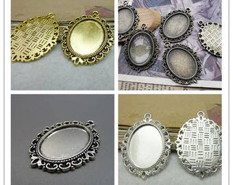 10 Oval 18x25mm Bezel Cups in antique silver antique copper antique bronze antique gold black silver