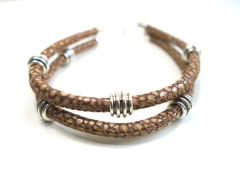 light brown stingray leather bracelet, shagreen, beige leather bracelet, leather and silver jewelry, leather jewelry, gift idea for him