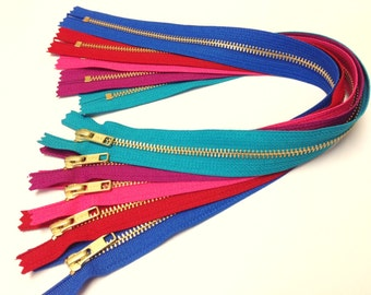 Metal zippers, 18 inch YKK bright zippers, FIVE pcs, brass YKK zippers, gold teeth, long zippers, brights, red, pink, blue, teal, red violet