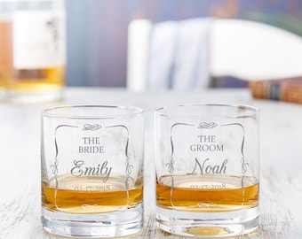 Set of Engraved Whisky Glasses for the Bride and the Groom - Wedding Gift - Customised with Names and Date - Gift for Spouses