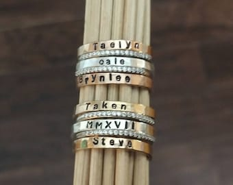 Two Tone Name Ring Set Personalized Ring Rose Gold and Silver Stackable Name Rings Custom Name Ring Mothers Stacking Ring Set Family Ring