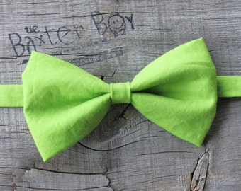 Ready-to-ship --- Size SMALL Solid Lime Green Bow Tie for little boys - wedding, ring bearer, little boy, accessory