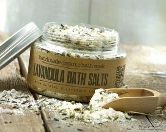 Lavandula BATH SALTS with oatmeal and lavender flowers, bath & beauty, bath salts, Dead sea salts, Greek sea salts, Epsom salts, Oatmeal