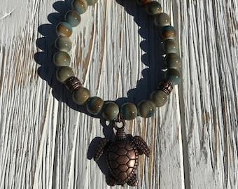 Sandy beach sea turtle bracelet