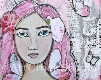 On Brave Wings Mixed Media Girl Giclee Print 10x10