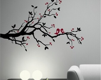 Kissing LOVE BIRD on an Olive Tree Branch vinyl wall decal - Wall Art