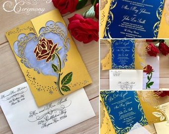 Beauty and the beast inspired wedding invitation laser rose and magic cut gatefold princess party unique