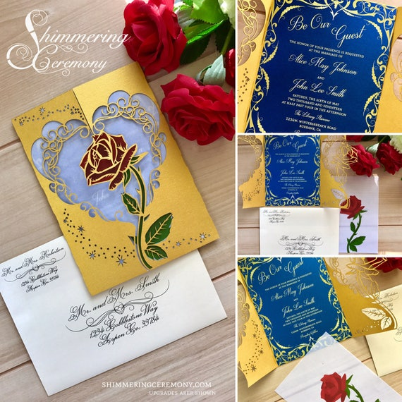 Beauty And The Beast Inspired Wedding Invitation Laser Rose - Wedding invitation templates: beauty and the beast wedding invitation template free