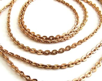 CLEARANCE SALE - Vintage brass chain - rose coppery color brass chain with small but sturdy  2.5mm links - TWO Feet