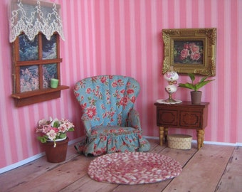 "Vintage  Dollhouse Miniature Fan Back Boudoir Chair- WEE DOLL HOUSE Furniture- Versatile 3/4"" or 1"" Scale- ca. Early 1900s"