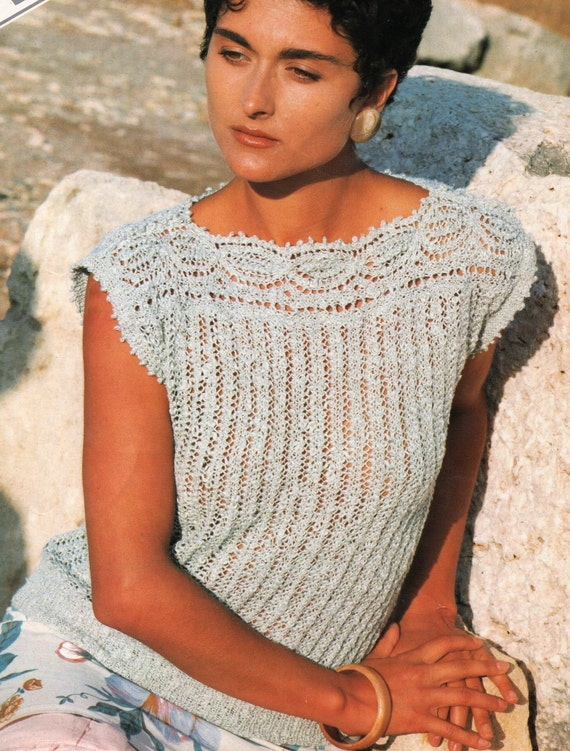 Gorgeous Lace Vintage Knitting Pattern Womens Ladies Lace Top