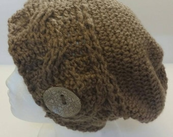 Slouchy Beanie Hat with Large Button
