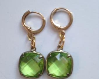 Green Faceted Crystal Earrings