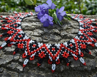 Black Red White, Beaded necklace, Jewelry, gift for her, Multicolor necklace, Seed bead, handmade necklace, choker, Seed bead necklace